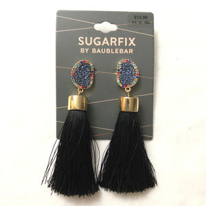 BaubleBar Druzy Studs Fringe Drop Earrings